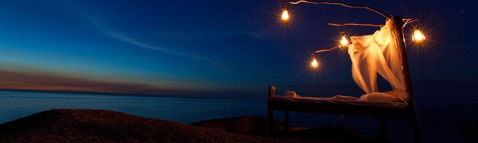 Star bed at Nkwichi Lodge in Lake Malawi, Mozambique