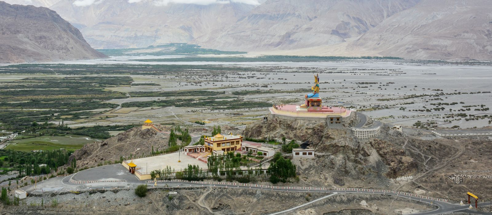 Maitreya Buddha statue, Himalaya mountains, Nubra Valley, Ladakh, India