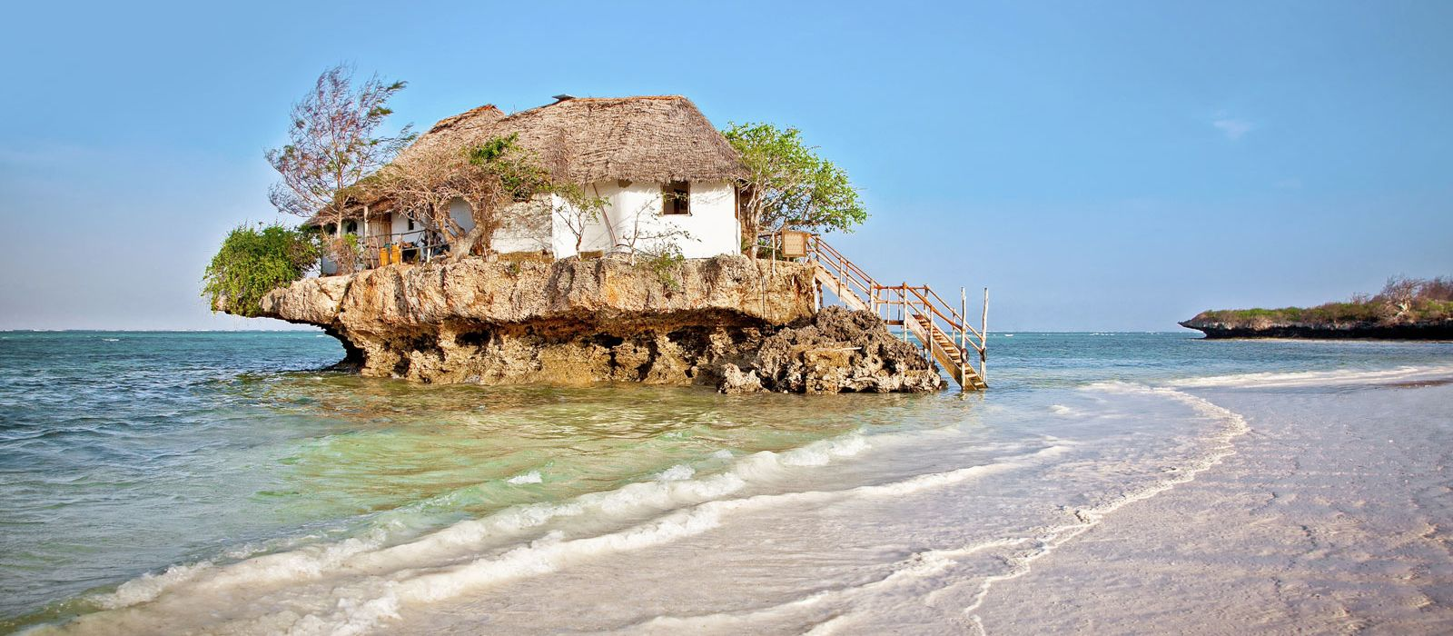 Check out the iconic Rock Restaurant, on Zanzibar's east coast