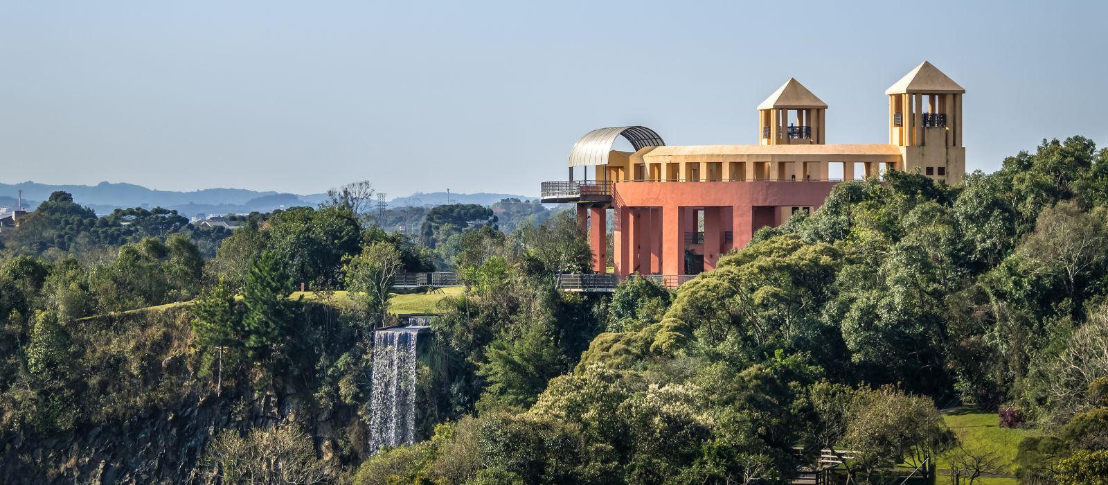 Viewpoint and waterfall at Tangua Park - Curitiba, Brazil, South America