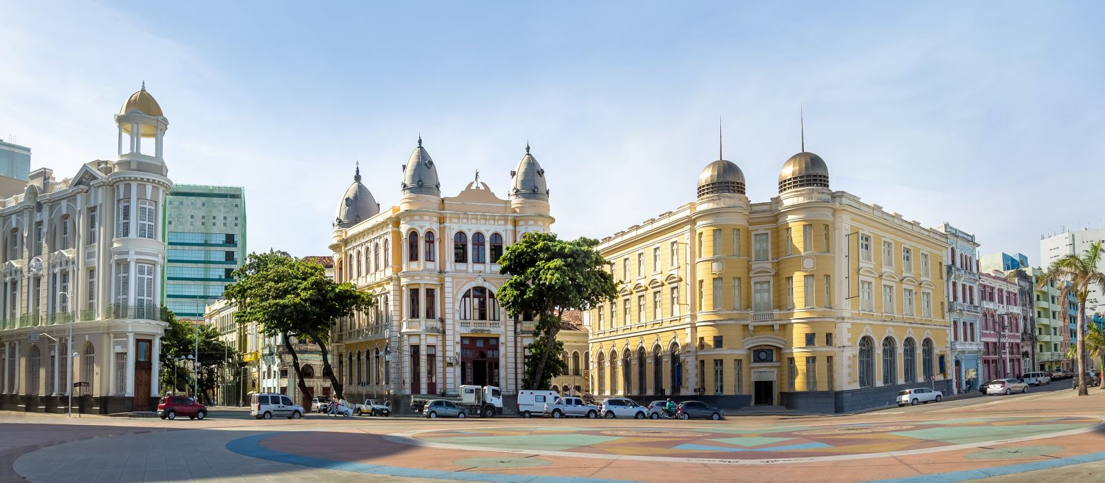 Panoramic view of Marco Zero Square at Ancient Recife district - Recife, Pernambuco, Brazil, South America
