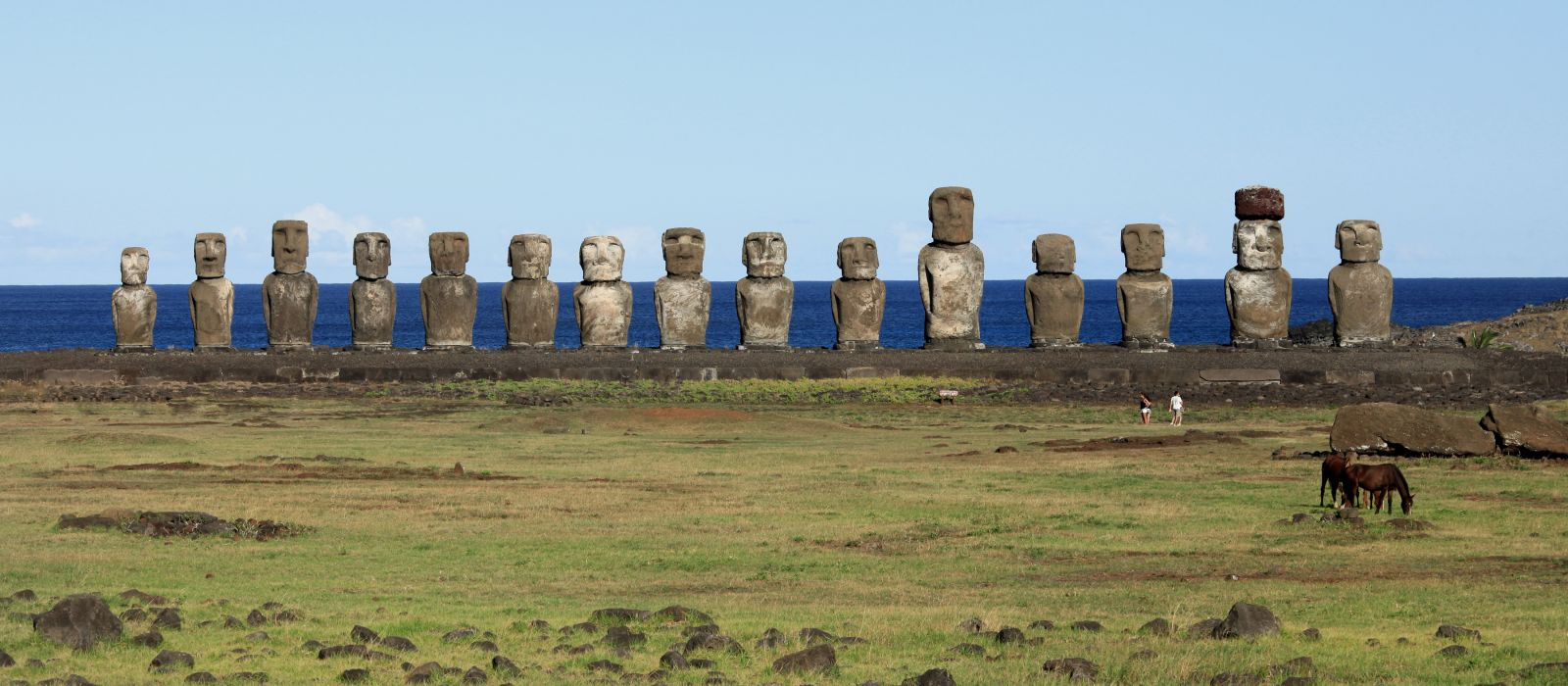 Ancient Moai statues on Easter Island in the Pacific Ocean off the coast of Chile, South America