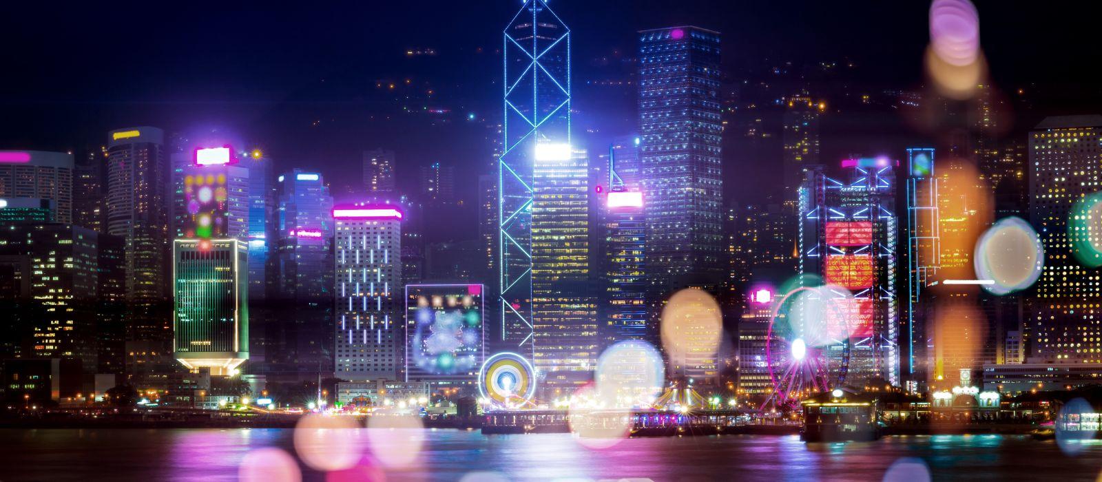 Doppelbelichtung mit Bokeh-Licht in der Stadt Hongkong, Asien
