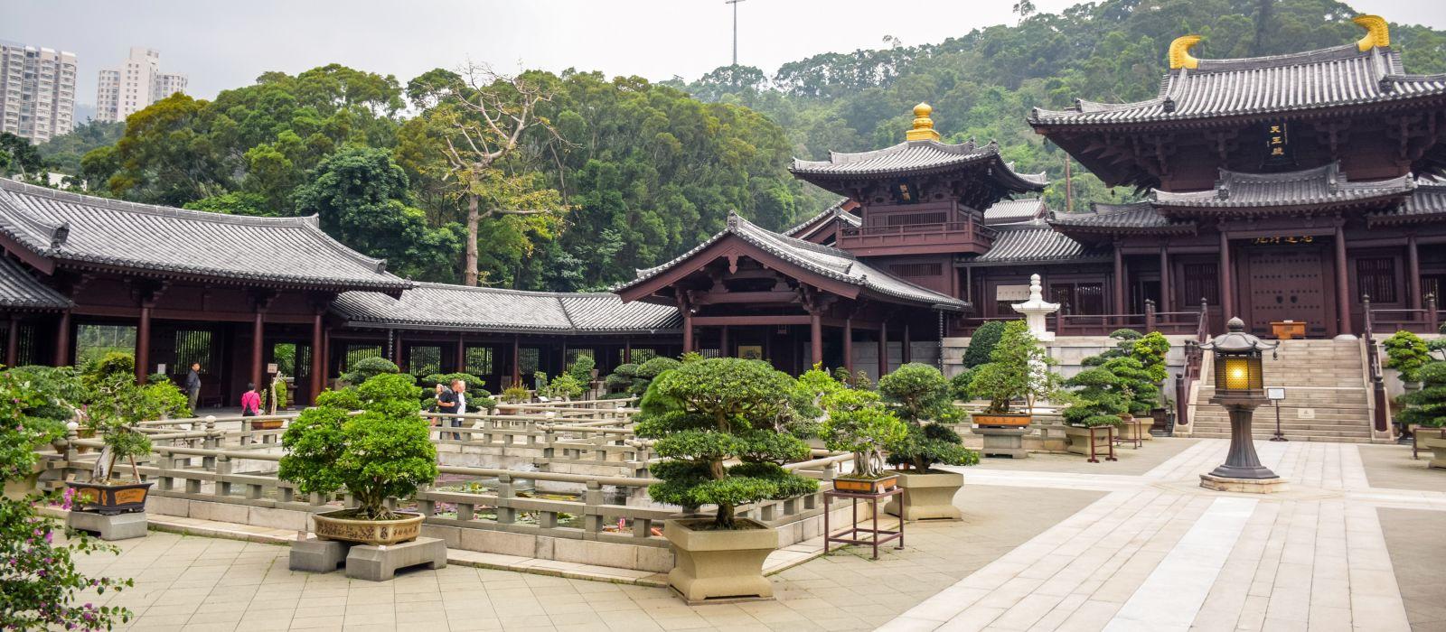 Chi Lin Nunnery, eine große buddhistische Tempelanlage in Diamond Hill, Kowloon, Hongkong, Asien.