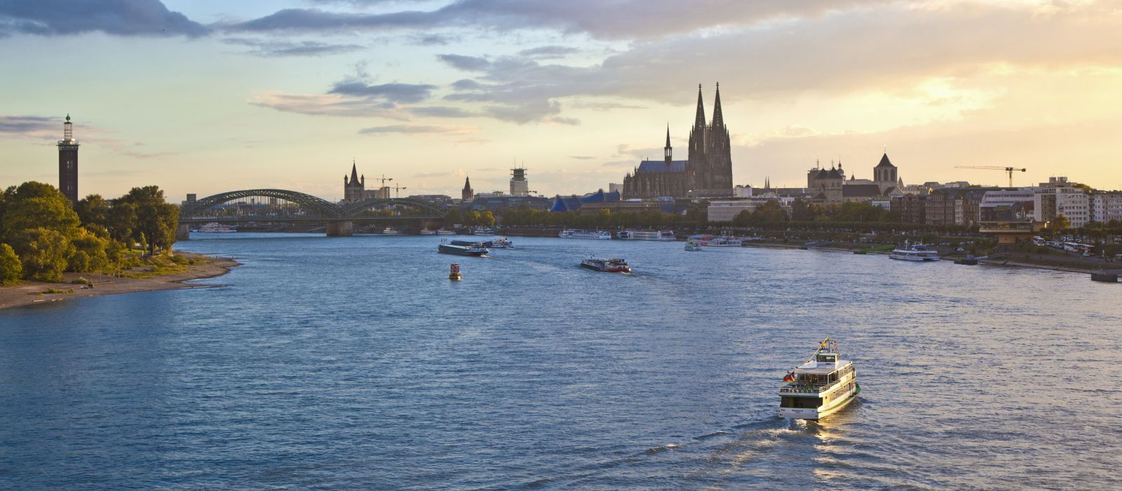 ship on river Rhein by Cologne in Germany, Europe