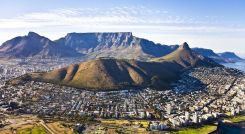 Aerial view of Cape Town, with Green Point and Sea Point, Table Mountain, Lion's Head, Signal Hill and Devil's Peak