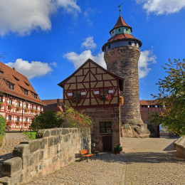 Nuremberg Castle (Sinwell tower) with blue sky and clouds, Germany Tours