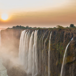 Enchanting Travels-Victoria Falls sunset, View from Zambia