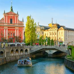 Ljubljanica-Fluss in Ljubljana, Slowenien