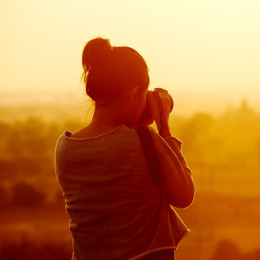 Female,Traveler,Photographing,Temples,At,Bagan,Myanmar,Asia,At,Sunrise