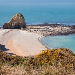 Point du Hoc, one of the Normandy D-day beaches in World War II, France, Europe