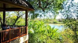 Covered terrace at Divava Okavango Lodge Hotel in Caprivi Strip, Namibia