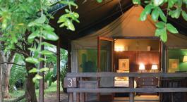 Blick auf das Gästezimmer von außen im Falaza Game Park and Spa Hotel in Hluhluwe, Südafrika