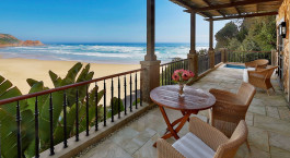 Balcony with ocean view at Pezula Spa & Gym, Garden Route in South Africa