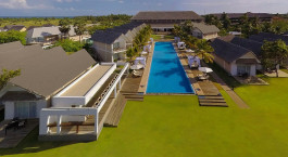 Overview of pool at Anilana Hotel in Sri Lanka, Pasikudah