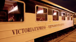 Exterior view of Victoria Express Train, Loacai – Hanoi in Vietnam