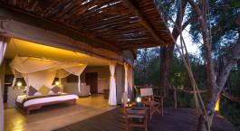 Terrace at Mkulumadzi Lodge in Majete Wildlife Reserve, Malawi