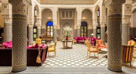 Lobby at Riad Fes Hotel in Fes, Morocco