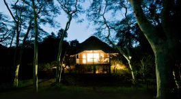 Exterior view during night at Zululand Tree Lodge in Hluhluwe, South Africa