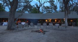 Camp fire at Machaba Camp in Okavango Delta, Botswana