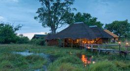 Außenansicht im hotel Lebala Camp in Okavango Delta, Botswana