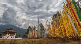 Tempel in Bhumthang in Bhutan, Asien