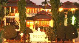 Night-time exterior of Thazin Garden Hotel in Bagan, Myanmar