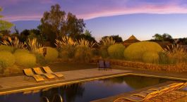 wimming pool by dusk at Altiplanico Atacama in San Pedro de Atacama in Chile