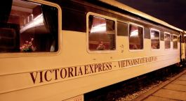 Exterior view of Victoria Express Train, Loacai – Hanoi in Vietnam
