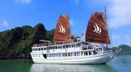 Cruise exterior view at Glory Legend in Halong Bay, Vietnam