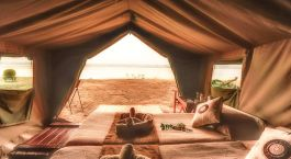 Guest tent at Zambezi Expeditions Camp in Mana Pools, Zimbabwe