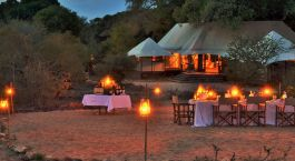 Outdoor dinner at Hamiltons Tented Camp, Kruger Central in South Africa
