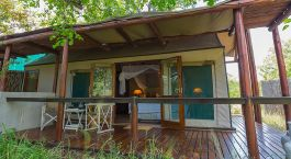 Exterior view of a guest tent at Thornybush Chapungu Luxury Tented Camp, Kruger Central in South Africa