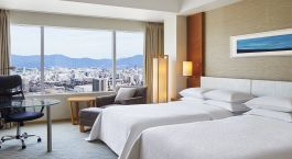 Deluxe twin bed room at Sheraton Hiroshima Hotel in Hiroshima, Japan