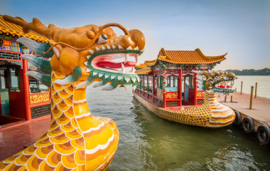 Enchanting Travels China Tours Dragon boat on the Kunming Lake, Beijing, China