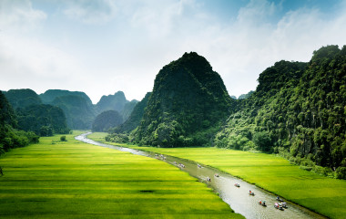 Rice field and river, Ninh Binh, vietnam landscapes - destinations we can't wait to visit