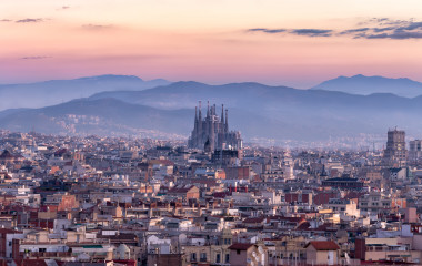 Sagrada familia and panorama view of barcelona city at dusk ,Spain