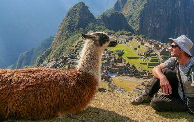 Tourist and llama sitting in front of Machu Picchu, Peru, South America