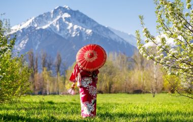 Enchanting Travels Japan Tours Woman in kimono with red umbrella in the garden with cherry blossom at mountain background