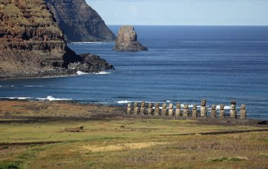 The beautiful Moai statues of Easter Island in the South Pacific, Chile, South America