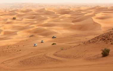 Desert safari on jeeps near Dubai. UAE