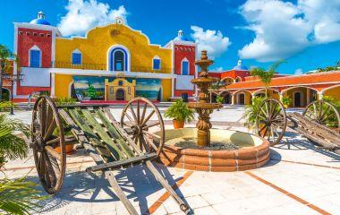 Mexican, caribbean hacienda, ranch plaza. Decorative traditional design. Theatrical stage