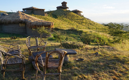 External view of accommodations at Africa Amini Maasai Lodge in Masai Mara, Kenya