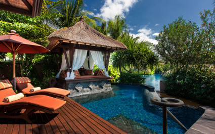 Pool area at St. Regis Bali Resort Hotel in Nusa Dua, Indonesia
