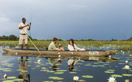 Boat ride at Vumbura Plains in Okavango Delta, Botswana
