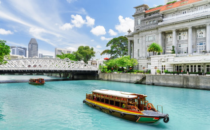 Tourist boats in Singapore