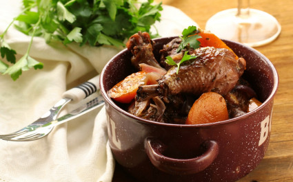 Traditional French Coq au vin- cuisine in France