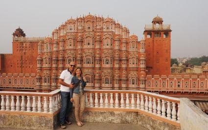 Enchanting Travels' guests admiring Jaipur's Hawa Mahal: the Palace of Winds