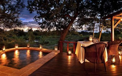 Private pool at Terrasse im Lion Sands Tinga Lodge Hotel, South Kruger in South Africa