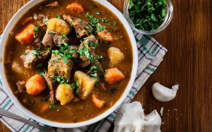 Classic Irish stew with beef and potatoes